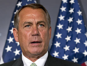 photo - FILE - In this Feb. 26, 2013 file photo, House Speaker John Boehner of Ohio speaks on Capitol Hill in Washington. President Barack Obama will meet Friday with the top leaders in the House and Senate to discuss what to do about automatic cuts to the federal budget, White House and congressional leaders said. The meeting is set to take place hours after the $85 billion in across-the-board cuts will have officially kicked in. This suggests both sides are operating under the assumption a deal won't be reached to avert the cuts ahead of the March 1 deadline.  (AP Photo/J. Scott Applewhite, File)