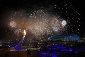 Photo - Fireworks are seen over the Olympic Park during the opening ceremony of the 2014 Winter Olympics in Sochi, Russia, Friday, Feb. 7, 2014. (AP Photo/Julio Cortez)