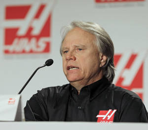 Photo - Gene Haas, the founder of Haas Automation, answers a question during a news conference about forming a Formula One auto racing team in Concord, N.C., Monday, April 14, 2014. (AP Photo/Chuck Burton)