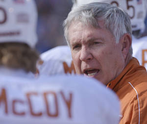 Photo - Texas coach Mack Brown's team could be on upset watch Saturday when Iowa State comes to Austin. AP Phot/Reed Hoffman. <strong>Reed Hoffmann</strong>