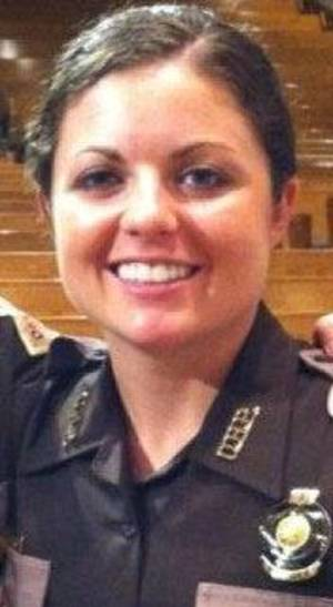 Photo - Oklahoma Highway Patrol trooper Mystal Perkins suffered minor injuries when her patrol car was rear-ended early Sunday. PHOTO PROVIDED <strong></strong>
