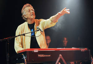 Photo - FILE - In this Aug. 16, 2012 file photo, Ray Manzarek of The Doors performs at the Sunset Strip Music Festival launch party celebrating The Doors at the House of Blues in West Hollywood, Calif. Manzarek, the keyboardist who was a founding member of The Doors, has died at 74. Publicist Heidi Robinson-Fitzgerald says in a news release that Manzarek died Monday, May 20, 2013, at the RoMed Clinic in Rosenheim, Germany, surrounded by his family. (Photo by Chris Pizzello/Invision/AP, File)