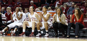 Photo - Oklahoma's Jasmine Hartman (45), Nicole Kornet (1) and Portia Durrett (31) watch a Dec. 6 game from the bench.   Photo by Steve Sisney, The Oklahoman