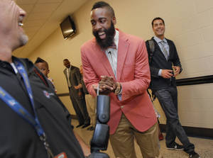 Photo - NBA BASKETBALL: James Harden laughs with teammates and media during the presentation of the 2012 NBA Sixth Man of the Year Award to the Oklahoma City Thunder's James Harden on Thursday,  May 10, 2012, in Oklahoma City, Oklahoma. Photo by Chris Landsberger, The Oklahoman