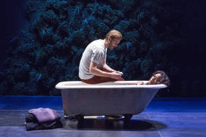 "Photo - This theater image released by The Hartman Groups shows Bill Heck, left, and Liza Colon-Zayas during a performance of ""Water By The Spoonful,"" a play by Quiara Alegria Hudes. (AP Photo/The Hartman Group, Richard Termine)"