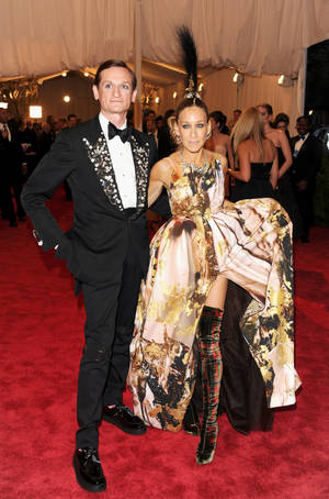"Photo - This May 6 photo shows Hamish Bowles and Sarah Jessica Parker at The Metropolitan Museum of Art  Costume Institute gala benefit ""Punk: Chaos to Couture""  in New York.  The Metropolitan Museum of Art's exhibit by the same name celebrated a movement that embraced anarchy in the 1970s. Photo by Evan Agostini/Invision/AP <strong>Evan Agostini - Evan Agostini/Invision/AP</strong>"