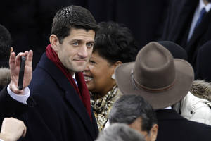 photo - Rep. Paul Ryan, R-Wis., arrives at the ceremonial swearing-in for President Barack Obama at the U.S. Capitol during the 57th Presidential Inauguration in Washington, Monday, Jan. 21, 2013. (AP Photo/Carolyn Kaster)