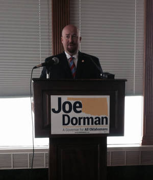 Photo - Rep. Joe Dorman, D-Rush Springs, announcing his candidacy in the Oklahoma governor's race, Feb. 4, 2013. PHOTO BY GRAHAM LEE BREWER, THE OKLAHOMAN. <strong></strong>