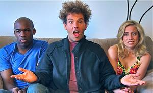 "Photo -   This image released by City of Sass shows Nnamdi Ngwe, left, Jake Sasseville,and Molly Miller, right, in a scene from the loosely scripted comedy series, ""Delusions of Grandeur."" Sasseville, the former late night talk show host of ""Late Night Republic,"" purchased eight 30-minute blocks on ABC Family to launch his series in October but ABC declined to air it because it did not meet their standards for programming for time buy purchases. But he was able to get his series on Blip and the pilot episode debuted on Oct. 3. (AP Photo/City of Sass)"