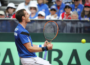 Photo - Britain's Andy Murray celebrates after winning his a match against United States' Sam Querrey at the Davis Cup tennis matches on Sunday, Feb. 2, 2014, in San Diego. (AP Photo/Denis Poroy)