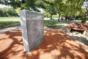 Photo - A plaque honoring Army Pfc. Manuel Perez Jr., an Oklahoma City native who earned the Medal of Honor during World War II, was stolen years ago from the park bearing his name.   Photo by Paul B. Southerland, The Oklahoman