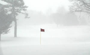 Photo - Wind and snow blow across the fairways at the Muskegon Country Club on Tuesday, March 19, 2013, in Muskegon, Mich.  A late winter storm is dumping snow on Michigan's Upper Peninsula, with up to 2 feet forecast in places.   Heavy lake-effect snow is expected along Lake Superior. Occasional white-out conditions are forecast into Wednesday. In parts of the northern Lower Peninsula, 6 to 9 inches of snow is forecast by Thursday morning. Some areas could see more than a foot. (AP Photo/The Muskegon Chronicle, ) ALL LOCAL TV OUT; LOCAL TV INTERNET OUT