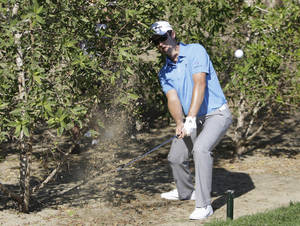 photo - Justin Rose of England plays a ball in the bush of 14th hole during the third round of Abu Dhabi Golf Championship in Abu Dhabi, United Arab Emirates, Saturday, Jan. 19, 2013. (AP Photo/Kamran Jebreili)