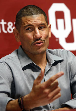 Photo - NATIONAL SIGNING DAY / SIGN / SIGNED / LETTER-OF-INTENT SIGNING DAY / OU: Jay Norvell, Co-Offensive Coordinator and Wide Receivers coach speaks at a press conference on National Signing Day at the University of Oklahoma on Wednesday, Feb. 6, 2013, in Norman, Okla.  Photo by Steve Sisney, The Oklahoman