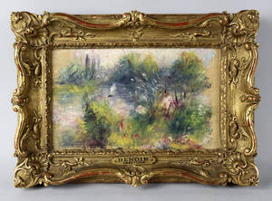 Photo - FILE - This file image released by Potomack Company shows an apparently original painting by French impressionist Pierre-Auguste Renoir that was acquired by a woman from Virginia who stopped at a flea market in West Virginia and paid $7 for a box of trinkets that included the painting. A federal judge will hear arguments Wednesday Jan. 10, 2014 on whether the napkin-sized painting by French impressionist Pierre-Auguste Renoir should go to a Baltimore museum or a Virginia woman. (AP Photo/Potomack Company, File)