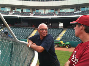 Photo - Enos Cabell speaks with Ty Van Burkleo, roving hitting instructor for the Astros, before Tuesday's RedHawks game at Chickasaw Bricktown Ballpark. Photo provided.