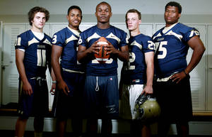 Photo - High school football players Cale Courtney, Sterling Shepard, Barry Sanders, Brandon Moews and Markus Wakefield, (from left to right), all seniors at Heritage Hall High School, poses at the school in Oklahoma City on Thursday, June 23, 2011. Photo by John Clanton, The Oklahoman ORG XMIT: KOD