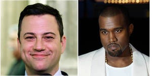 "Photo - This combo of photos shows Jimmy Kimmel seen in a Jan. 25, 1013 file photo left and Kanye West seen in a May 23, 2012 file photo. Kimmel and West either are engaged in a bitter feud or a heck of a parody. Kimmel's monologue Thursday night Sept. 26, 2013 was devoted to discussing what he called a ""very angry phone call"" he received from West about an hour and a half before taping ABC's ""Jimmy Kimmel Live."" (AP Photo/File)"