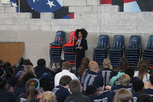 Photo - Joshua Wright, 12, head of Joshua's Heart in Miami, Fla., speaks to a crowd of students at Independence Charter Middle School in Oklahoma City during his recent visit hosted by Feed the Children. PHOTO PROVIDED. <strong></strong>