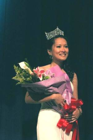 Photo - Kim Pham, UCO Vietnamese international student winning the Miss Asia Oklahoma 2009 pageant. Photo taken by Omar Thabit