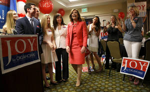 Photo - Joy Hofmeister is greeted by supporters after winning the Republication nomination for Oklahoma state school superintendent in Oklahoma City, Tuesday, June 24, 2014. Photo by Bryan Terry, The Oklahoman