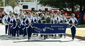 Photo - The Bowlegs Band marches during band day at the 2011 Oklahoma State Fair.   Photo by Paul Hellstern, The Oklahoman <strong>PAUL HELLSTERN</strong>