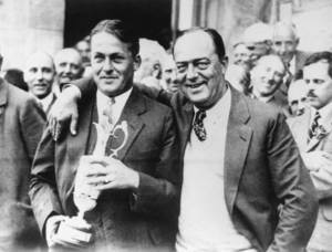 "Photo - FILE - In this July 22, 1927, file photo, American amateur Bobby Jones, left, poses with his father, Robert, after winning the British Open at St. Andrews, Scotland. Jones not only was the best amateur in U.S. Open history, he remains one of the greatest to ever play the game and is celebrated for his ""impregnable quadrilateral"" _ the Grand Slam _ by winning the U.S. Open, British Open, British Amateur and U.S. Amateur in 1930. (AP Photo/File)"