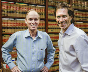 Photo - In a Monday, June 17, 2013, photo attorneys Richard Strafer, left, and Howard Srebnick are shown in Miami. The two attorneys will represent Kerri and Brian Kaley of New York, during an appeal before the U.S. Supreme Court to determine whether the government's case against the couple in a medical devices theft case, is strong enough to justify freezing most of their assets and denying them the right to hire the attorney of their choice. (AP Photo/Wilfredo Lee)