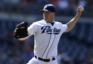 Photo -   San Diego Padres starting pitcher Clayton Richard throws against the St. Louis Cardinals during the first inning of their baseball game, Wednesday, Sept. 12, 2012, in San Diego. (AP Photo/Gregory Bull)