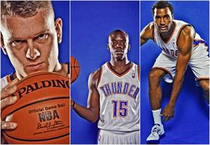 photo - The Oklahoma City Thunder&#039;s Cole Aldrich, Reggie Jackson, and Lazar Hayward. 