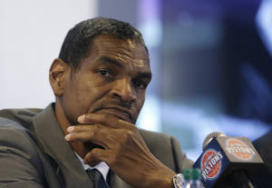 Photo - Maurice Cheeks listens to a reporters question during a news conference at The Palace of Auburn Hills, Mich., where he was introduced as the Detroit Pistons new head coach, Thursday, June 13, 2013. Cheeks joins the Pistons after serving four years as an assistant coach with Oklahoma City. (AP Photo/Carlos Osorio)