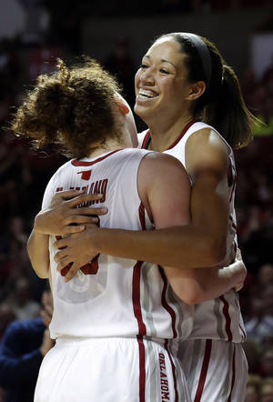 photo - Oklahoma&#039;s Joanna McFarland (53) and Nicole Griffin (4) celebrate in the second half of the women&#039;s Bedlam basketball game between Oklahoma State University and Oklahoma at the Lloyd Noble Center in Norman, Okla., Sunday, Feb. 10, 2013.Photo by Sarah Phipps, The Oklahoman