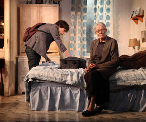 "Photo - This theater image released by Richard Kornberg & Associates shows Jesse Eisenberg, left, and Vanessa Redgrave during a performance of ""The Revisionist,"" in new York. (AP Photo/Richard Kornberg & Associates, Sandra Coudert)"