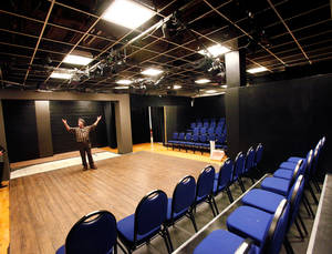 Photo - Richard Charnay, events manager for the Civic Center Music Hall in Oklahoma City, shows the CitySpace minimalist theater during a tour of the building last month. The building celebrates its 75th anniversary this year. <strong>JIM BECKEL - The Oklahoman</strong>