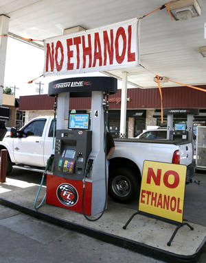 Photo - Ethanol free gasoline is advertised at this gasoline station at 15th Street and Boulevard in Edmond on Aug. 23, 2013,  Photo by Paul Hellstern, The Oklahoman <strong>PAUL HELLSTERN</strong>