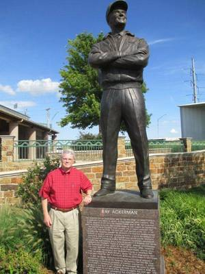 Photo - Charles Van Rysselberge visits the statute of MAPS visionary and former Greater Oklahoma City Chamber chairman Ray Ackerman. PHOTO PROVIDED  <strong>Provided</strong>