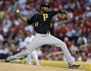 Photo -   Pittsburgh Pirates starting pitcher James McDonald throws during the fourth inning of a baseball game against the St. Louis Cardinals on Friday, Aug. 17, 2012, in St. Louis. (AP Photo/Jeff Roberson)