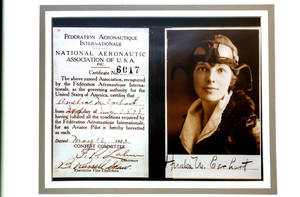 photo - A copy of Amelia Earhart's pilot's certificate is displayed at the Ninety-Nines Museum of Women Pilots in Oklahoma City.  PHOTO BY STEVE SISNEY, THE OKLAHOMAN archives