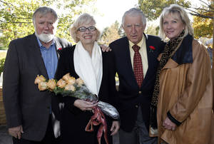 Photo - Bob Meinders, LaDonna Meinders, Herman Meinders and Linda Rice pose for photos as the Dedication of Meinders Terrace at Myriad Botanical Gardens., Thursday, Nov. 14, 2013. Photo by Sarah Phipps, The Oklahoman <strong>SARAH PHIPPS - SARAH PHIPPS</strong>
