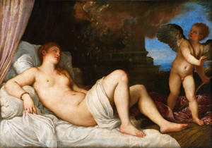 """Photo - This image provided via The National Gallery of Art shows Titian's """"Danaë."""" The Italian Renaissance painting rarely seen in the United States will be displayed at the National Gallery of Art in Washington to mark the start of Italy's presidency of the European Union. The museum announced June 18, 2014, that the paitning will be on view July 1 through Nov. 2. It was painted in 1544 to 1545 as a depiction of erotic mythologies.(AP Photo/The National Gallery of Art via Superintendency of Cultural Heritage for the City and the Museums of Naples and the Royal Palace of Caserta/Luciano Basagni, Fabio Speranza)"""
