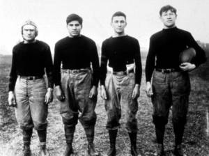 Photo - The backfield of the Carlise, Pa., Indian Industrial School football team included legendary athlete Jim Thorpe.  AP ARCHIVE PHOTO