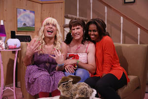 "Photo - From left: Host Jimmy Fallon, actor Will Ferrell, First Lady Michelle Obama during the ""Ew"" skit on Thursday Feb. 20, 2014 during comedian Fallon's inaugural week as the new ""Tonight Show"" host. (AP Photo/NBC, Lloyd Bishop)"