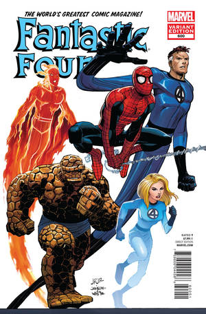 photo -   In this cover image released by Marvel Comics, the 600th issue of Fantastic Four is shown. The comic that Marvel began publishing 50 years ago, returns with a new issue featuring The Human Torch, who has returned from the dead to rejoin the fabled super team made up of his sister, Sue Storm aka the Invisible Woman; brother-in-law Reed Richards aka Mr. Fantastic; and Ben Grimm aka The Thing. The issue goes on sale in comic shops Wednesday. (AP Photo/Marvel Comics)