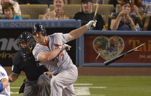 Photo -   St. Louis Cardinals' Matt Holliday breaks his bat as he grounds out to second during the fifth inning of a baseball game against the Los Angeles Dodgers, Friday, Sept. 14, 2012, in Los Angeles. (AP Photo/Mark J. Terrill)