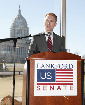 Photo - Oklahoma U.S. Rep. James Lankford announces his run for the Senate seat being vacated by Sen. Tom Coburn, during a press conference at the Oklahoma History Center in Oklahoma City on Monday.  Photo by Paul Hellstern, The Oklahoman <strong>PAUL HELLSTERN</strong>