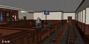 Photo - Plans for a mock courtroom inside the future OCU law school is shown in this rendering. <strong>FSB</strong>