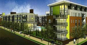 Photo - A view of the pool and courtyard at the Metropolitan Apartments can be seen in this rendering. Final designs are set for consideration Thursday by the Downtown Design Review Committee. <strong>Lord Aeck Sargent</strong>