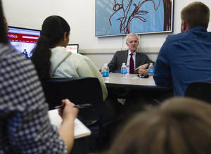 Photo -   Democratic Senate candidate Bob Kerrey speaks to journalism students at the University of Nebraska at Omaha, in Omaha, Neb., Monday, Nov. 5, 2012. Kerrey is running against Republican Deb Fischer. (AP Photo/Nati Harnik)