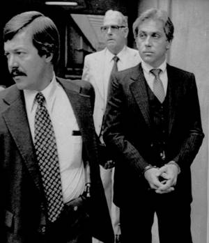 Photo -   FILE - In this Aug. 28, 1979 file photo, Jeffrey MacDonald, right, appears in federal court in Wilmington, N.C. MacDonald's pregnant wife and two young daughters were murdered in in their Fort Bragg home in 1970. MacDonald was convicted of the crimes. On Monday, Sept. 17, 2012, MacDonald is scheduled to appear in federal court in Wilmington, N.C., for a hearing about new evidence in the case. (AP Photo, File)