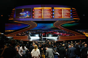 Photo - The final draw for the Europa League, groups A-L, is displayed on an electronic board, after the Europa League draw ceremony for the first round of the  2013/2014 Europa League, at the Grimaldi Forum in Monaco, Friday, Aug. 30, 2013. (AP Photo/Claude Paris)